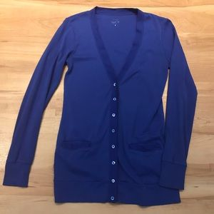 J Crew Blue Perfect-Fit Mixed Tape Cotton Cardigan